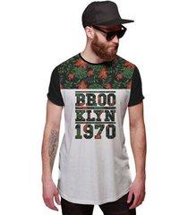 camiseta di nuevo longline floral brooklyn 1970 thug life - masculino