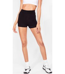 womens high-waisted fitted shorts with stretch waist - black