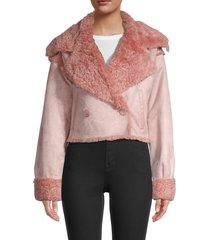nvlt women's faux fur-trim double-breasted jacket - black - size xs
