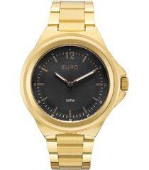 relógio feminino euro eu2039jc/4p pulseira aço dourada