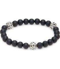 saks fifth avenue men's sterling silver & onyx bracelet