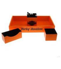 kit 4 peças organizadores  mesa escri. porta caneta laranja