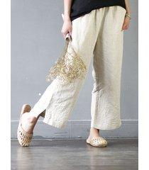 donna casual pantaloni con elastico in vita con tasche in colore a tinta unita