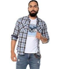 camisa azul-blanca americanino