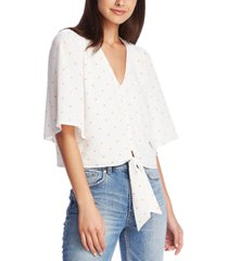 1.state printed tie-front top