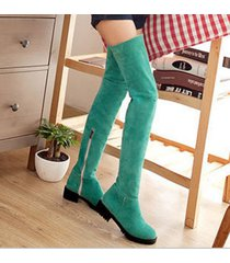 pp196 stylistic over-knee boots w stretch top, zip side us size 4-9, green