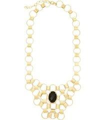 maxi colar banho de ouro e quartzo kumbayá joias