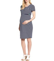 women's modern eternity maternity/nursing henley t-shirt dress, size x-large - blue