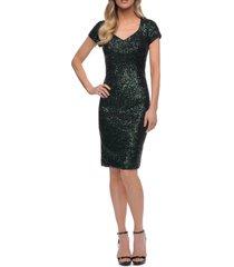 women's la femme sequin sheath dress, size 14 - green