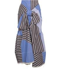marni multi striped tie front skirt - blue