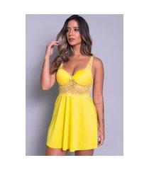 camisola bella fiore modas com bojo em tecido canelado amarela