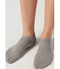calzedonia unisex cotton no-show socks man grey size 40-41