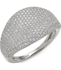 adriana orsini women's rhodium plated sterling silver & cubic zirconia ring - size 7