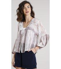 blusa feminina com transparência e amarração estampada animal print manga longa off white