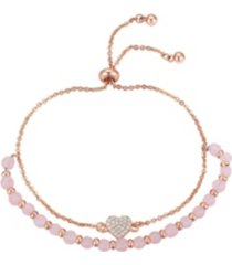rose gold flash-plated genuine rose quartz heart multi-strand adjustable bolo bracelet