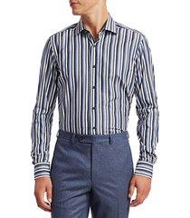 saks fifth avenue men's collection multi-color striped shirt - blue - size s