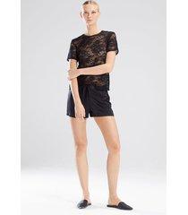 natori feathers satin elements shorts pajamas, women's, black, size l natori
