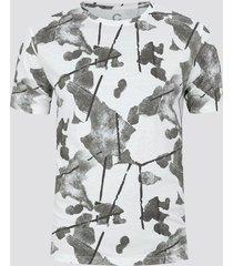 t-shirt i bomull med mönster - offwhite