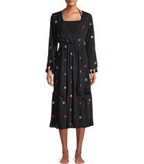 tessora women's sequin-embellished coverup dress - black multi - size m