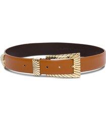 alberta ferretti leather belt with square buckle