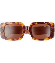 pared straight & narrow 63mm oversize rectangular sunglasses in tortoise/ivory brown at nordstrom