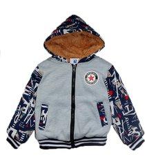 jaqueta casaco manabana infantil grossa com pelucia mochilinha - azul/cinza - algodã£o - dafiti