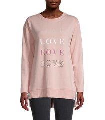 c & c california women's graphic high-low fleece sweatshirt - misty rose - size s