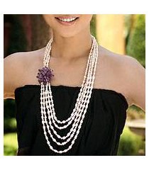 cultured pearl and amethyst strand necklace, 'purple snow peony' (thailand)