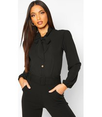 blouse met knopen, volle mouwen en strik, black