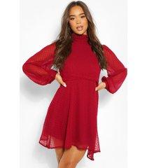 dobby mesh high neck pleat detail skater dress, berry