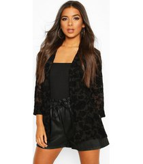 edge to edge blazer in mesh with tonal flock, black