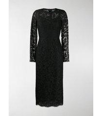 dolce & gabbana floral lace midi dress