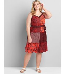 lane bryant women's patchwork printed midi fit & flare dress 14 red patchwork