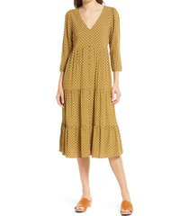 women's madewell daisies forever v-neck tiered button front midi dress, size 0 - green