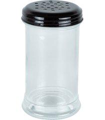 porta-condimento de vidro com tampa de metal preto keary