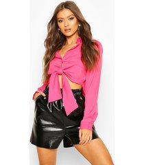 long sleeve collared tie up front shirt, hot pink