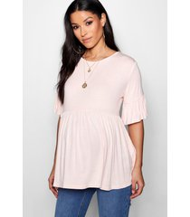 maternity ruffle smock top, blush
