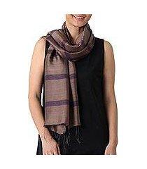 silk and cotton blend scarf, 'friendly stripes' (thailand)