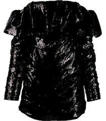 the attico off the shoulder sequin dress - black