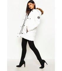 luxe parka met faux fur kraag, white