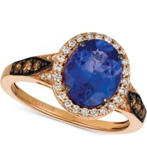 le vian chocolatier blueberry tanzanite (2-1/2 ct. t.w.) & diamond (3/8 ct. t.w.) ring in 14k rose gold