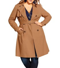 plus size women's city chic urban classic trench coat, size medium - brown