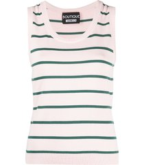 boutique moschino horizontal stripe knitted top - pink