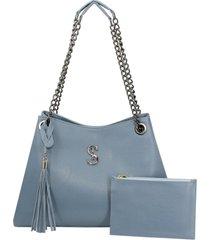 bolsa de ombro grande alça corrente azul selten