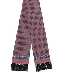 dolce & gabbana printed fringe hem scarf - pink