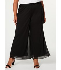 alex evenings plus size mesh waist-tie pants