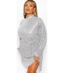 rechte jurk met v-hals en lovertjes, zilver