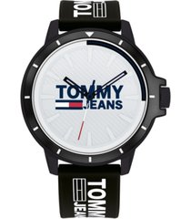 tommy hilfiger tommy jeans black silicone strap watch 44mm