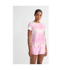 pijama curto em viscolycra estampa tie dye | lov | rosa | gg