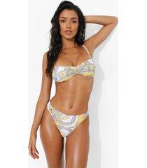 bloemen bikini broekje met gouden detail, yellow